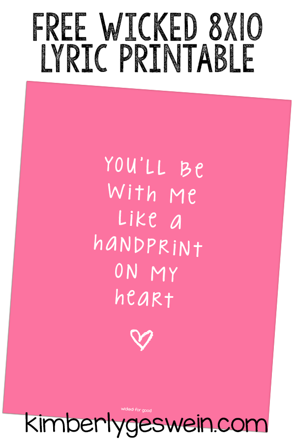 Free Wicked Handprint on my Heart Printable