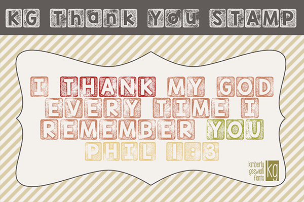 KG Thank You Stamp Font